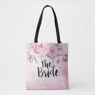 Bolsa Tote Penas florais da aguarela elegante das noivas do