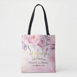 Bolsa Tote Penas florais Wedding da aguarela elegante