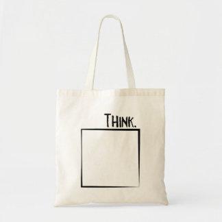 Bolsa Tote Pense fora da tipografia do Literal da caixa
