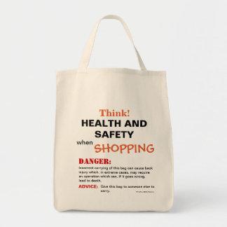 Bolsa Tote Pense o sinal de aviso engraçado da piada da saúde