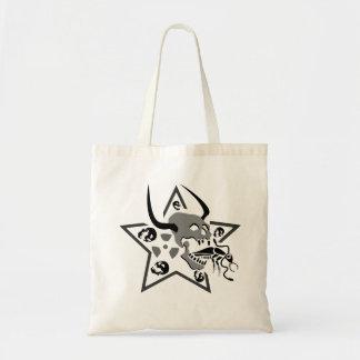 Bolsa Tote Pentagram gritando do crânio