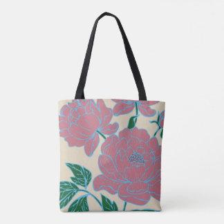 Bolsa Tote Peônias cor-de-rosa