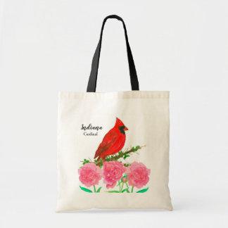 Bolsa Tote Peônias cor-de-rosa cardinais de Indiana