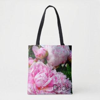 Bolsa Tote Peônias cor-de-rosa e brancas