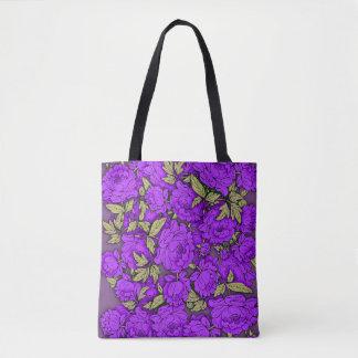 Bolsa Tote Peônias roxas com folhas do ouro