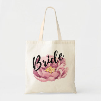 Bolsa Tote Peonie cor-de-rosa - roteiro preto da noiva