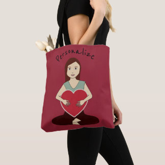 Bolsa Tote Personalize a menina bonito da ioga que guardara o