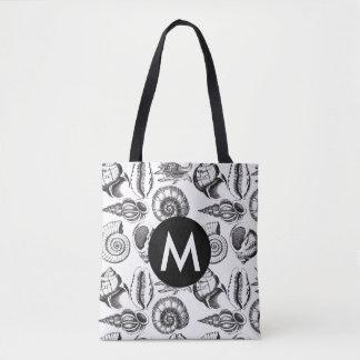 Bolsa Tote Personalize a sacola preto e branco dos Seashells