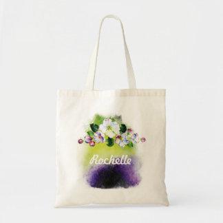 Bolsa Tote Personalize a sacola rústica das senhoras da flor