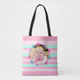 Bolsa Tote Personalize esta sacola listrada cor-de-rosa
