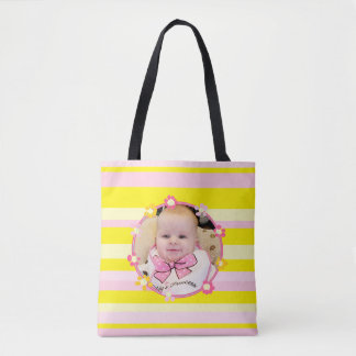 Bolsa Tote Personalize esta sacola listrada cor-de-rosa &