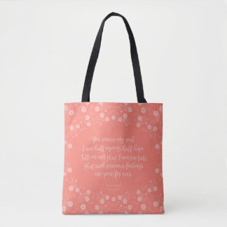 Bolsa Tote Persuasão floral Jane Austen das citações do amor