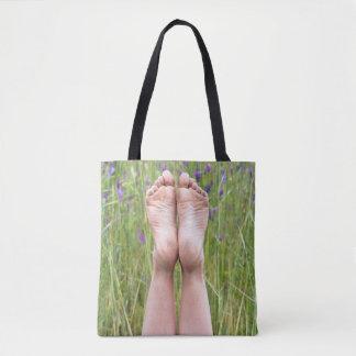 Bolsa Tote pés desencapados nos wildflowers