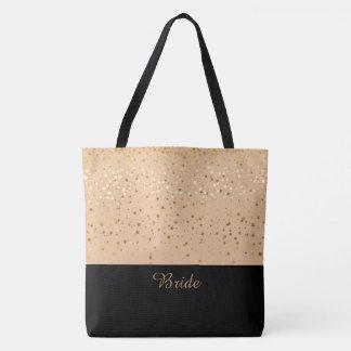 Bolsa Tote Pêssego da sacola da noiva & pequenos estrelas