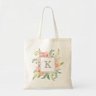Bolsa Tote Pêssegos e aguarela de creme florais com monograma