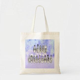 Bolsa Tote Pessoas da pia batismal da neve do Feliz Natal,