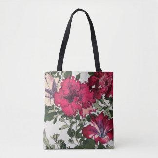 Bolsa Tote Petúnias marrons e cor-de-rosa do plissado