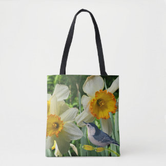 Bolsa Tote Pica-pau-cinzento com Daffodils do primavera