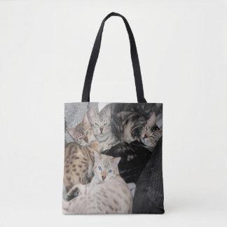 Bolsa Tote Pilha do gatinho do gato de Bengal