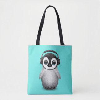 Bolsa Tote Pinguim bonito DJ do bebê que veste fones de