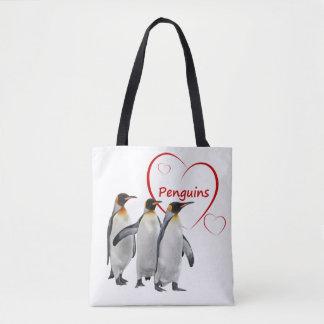 Bolsa Tote Pinguins do amor por todo o lado no saco do