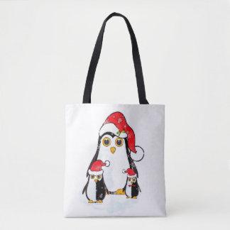 Bolsa Tote Pinguins do Natal da sacola