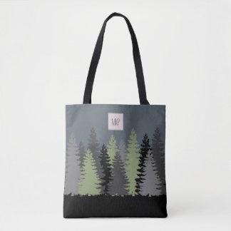 Bolsa Tote Pinheiros das madeiras da floresta com monograma