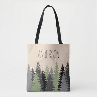 Bolsa Tote Pinheiros das madeiras da floresta com nome