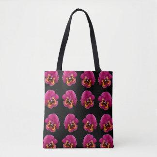 Bolsa Tote Pink_And_Black_Pansy_Magic_Full_Print_Shopping_Bag