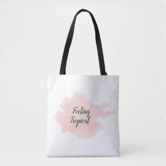 Bolsa Tote Pintado à mão cor-de-rosa tropical da aguarela