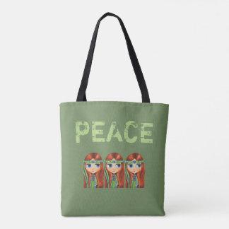 Bolsa Tote Pintinho da menina do Hippie da paz nos anos 60