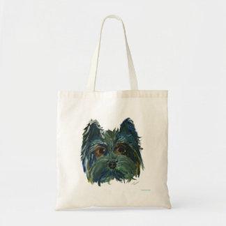Bolsa Tote Pintura bonito do filhote de cachorro de Yorkie no