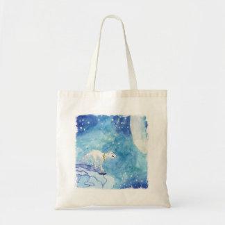Bolsa Tote Pintura criançola da aguarela com lobo nevado