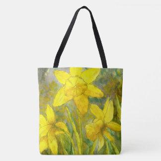 Bolsa Tote Pintura da aguarela, arte amarela das flores,