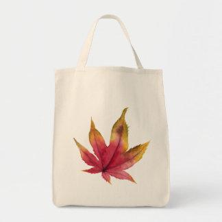 Bolsa Tote Pintura da aguarela da folha de bordo do outono