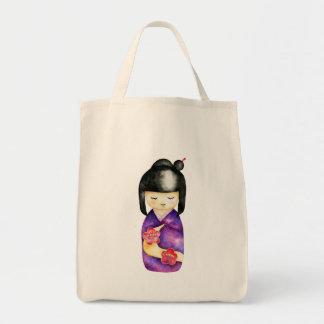 Bolsa Tote Pintura da aguarela de Kokeshi