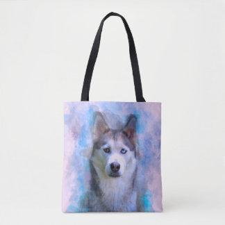 Bolsa Tote Pintura da arte da cor de água do cão do rouco