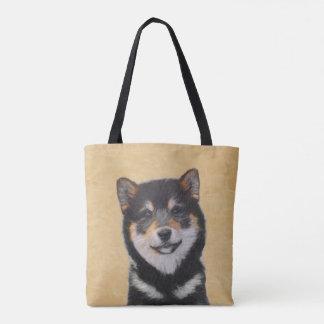 Bolsa Tote Pintura de Shiba Inu (preto e Tan) - arte do cão