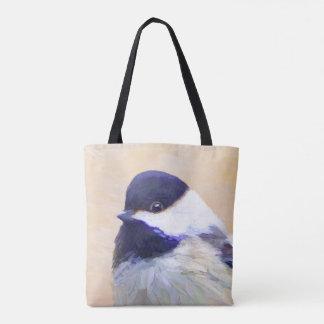 Bolsa Tote Pintura do Chickadee - arte original do pássaro