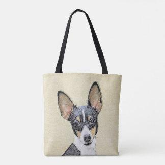 Bolsa Tote Pintura do Fox Terrier do brinquedo - arte