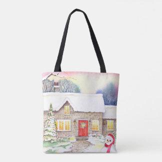 Bolsa Tote Pintura nevado da aguarela da casa de campo