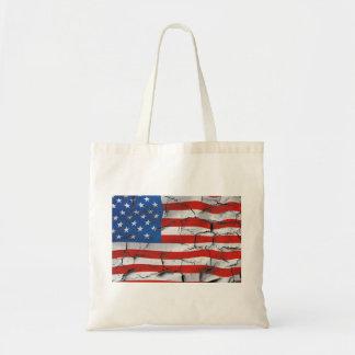 Bolsa Tote Pintura vestida rachada patriótica da bandeira