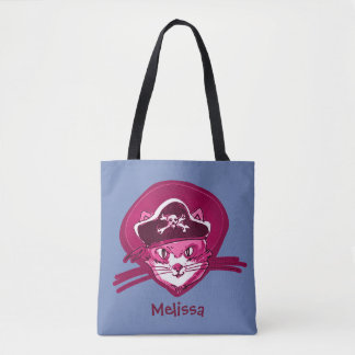 Bolsa Tote pirateie o gatinho doce do gato com desenhos