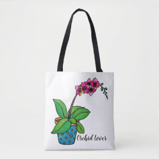 Bolsa Tote Planta da orquídea da aguarela no pote bonito