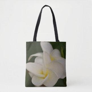Bolsa Tote Plumeria branco e amarelo