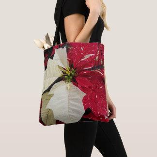 Bolsa Tote Poinsétia vermelha e branca floral