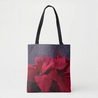 Bolsa Tote Poinsétias vermelhas no fundo decorativo
