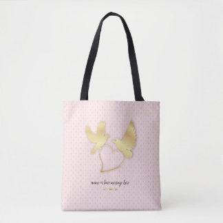 Bolsa Tote Pombas douradas com um coração dourado, amor