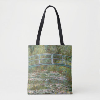 Bolsa Tote Ponte da arte de Monet sobre uma lagoa de lírios