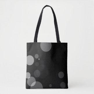 Bolsa Tote Pontos cinzentos no fundo preto
